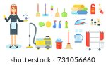 maid flat vector character.... | Shutterstock .eps vector #731056660