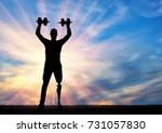 a man with a prosthetic leg...   Shutterstock . vector #731057830