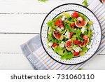 easy vegetarian salad with figs ... | Shutterstock . vector #731060110