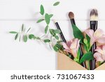 decorative flat lay composition ... | Shutterstock . vector #731067433