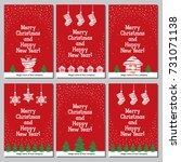 christmas card set. vector... | Shutterstock .eps vector #731071138