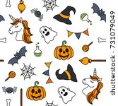 halloween things unicorn cute... | Shutterstock .eps vector #731079049