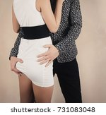 two lovers. the guy hugs the... | Shutterstock . vector #731083048