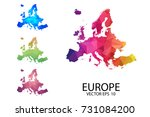 set of polygonal map blank on... | Shutterstock .eps vector #731084200