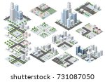 set urban district of the city... | Shutterstock .eps vector #731087050