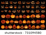 jack o lantern and evil faces... | Shutterstock .eps vector #731094580
