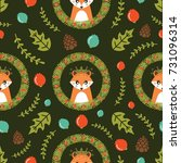 christmas seamless pattern with ... | Shutterstock .eps vector #731096314