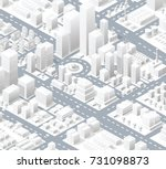 urban district of the city in... | Shutterstock .eps vector #731098873