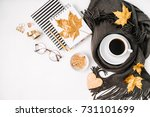 workspace with golden maple... | Shutterstock . vector #731101699