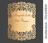laser cut wedding invitation... | Shutterstock .eps vector #731105854