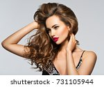 beautiful woman with long brown ... | Shutterstock . vector #731105944