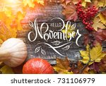 "Great season texture with fall mood. Nature november background with hand lettering ""Hello November""."
