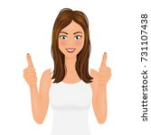 young woman making a thumbs up... | Shutterstock .eps vector #731107438