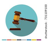 judge hammer flat icon with... | Shutterstock .eps vector #731109100