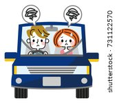 a couple uneasy about driving. | Shutterstock .eps vector #731122570