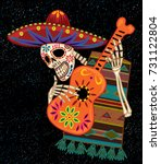 day of the dead guitar player | Shutterstock .eps vector #731122804