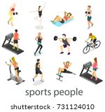 isometric interior of gym.... | Shutterstock .eps vector #731124010