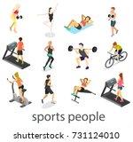 isometric interior of gym.... | Shutterstock .eps vector #731124010