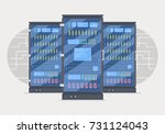 server room banner with three... | Shutterstock .eps vector #731124043