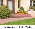 front porch with pumpkins | Shutterstock . vector #731128846