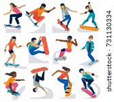 young skateboarder active girls ... | Shutterstock .eps vector #731130334