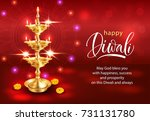 happy diwali background with... | Shutterstock .eps vector #731131780