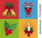 set icons of christmas pop art | Shutterstock .eps vector #731136304