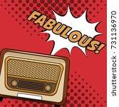 old radio pop art cartoon | Shutterstock .eps vector #731136970