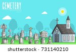 cemetery with different graves... | Shutterstock .eps vector #731140210