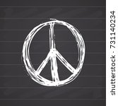 peace symbol  hand drawn grunge ... | Shutterstock .eps vector #731140234