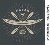 kayak club vintage label  hand... | Shutterstock .eps vector #731140969