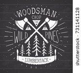 lumberjack at work vintage... | Shutterstock .eps vector #731141128