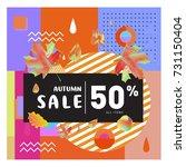 autumn sale memphis style web...   Shutterstock .eps vector #731150404