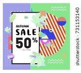 autumn sale memphis style web... | Shutterstock .eps vector #731153140