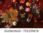 golden glitter flower ... | Shutterstock . vector #731154676