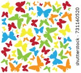 set of six butterfly isolated... | Shutterstock .eps vector #731160520