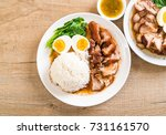 stewed pork leg with rice and... | Shutterstock . vector #731161570