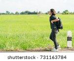 young asian woman short hair... | Shutterstock . vector #731163784