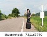 young asian woman short hair... | Shutterstock . vector #731163790
