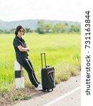 young asian woman short hair... | Shutterstock . vector #731163844
