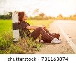 young asian woman short hair... | Shutterstock . vector #731163874