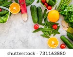 vegearian lunch. vegetables... | Shutterstock . vector #731163880