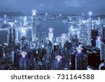 wifi icon and hong kong city... | Shutterstock . vector #731164588