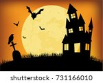 halloween pumpkins and dark... | Shutterstock .eps vector #731166010
