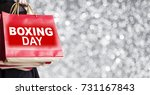 young woman holding boxing day... | Shutterstock . vector #731167843