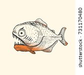 piranha fish amazon vector... | Shutterstock .eps vector #731170480