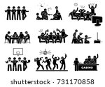 men hanging out with a group of ... | Shutterstock .eps vector #731170858