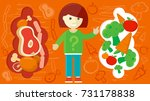 girl choosing vegetarian food....   Shutterstock .eps vector #731178838