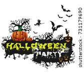 happy halloween poster night... | Shutterstock .eps vector #731179690