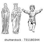 set of saint mary holding baby... | Shutterstock .eps vector #731180344